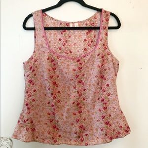 Anthropologie Eloise dusty pink floral tank top